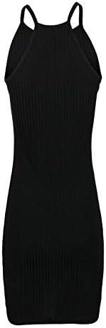Dunacifa Women Summer Mini Dresses Solid Sling Sleeveless Holiday Party Short Dress Casual Bodycon Sundress