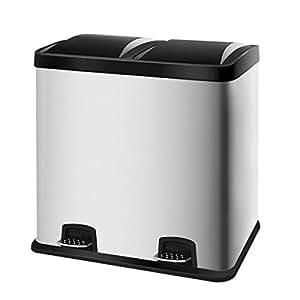 60L Rectangle Hand Free Dual Compartment Rubbish Bin ...
