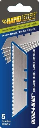 Rapid Edge All-Purpose Extend-A-Blade Double Length Serrated Utility Knife Blades with 5 Blades (1 Pack)