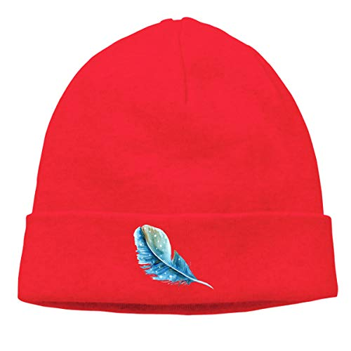 - Skully Beanie Wool Knitted Cap Blue Feather Shape Warm Hat Daily Slouchy Hats Crease Knit Beanies Skull Cap