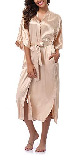 Womens Pure Color Long Satin Bathrobe Kimono Nightgown Long Dress Gown Champagne (Long Satin Champagne)
