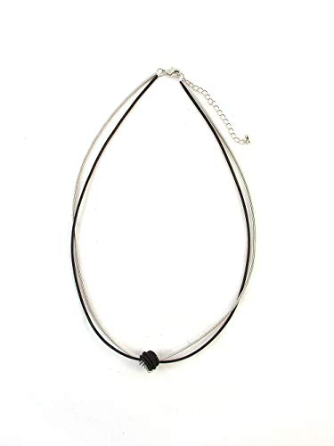The Island Pearl Piano Wire Necklace Black and ()