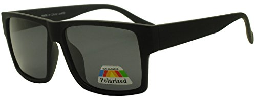 SSS - Unisex Classic Lifestyle Square Retro Sunglasses w/ Dark Gradient Lens (Soft Black)