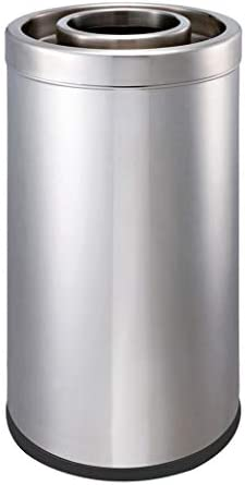 ステンレススチールストレートスローフリップゴミ箱、丸型バレルモールスーパーマーケット屋外ゴミ箱、75cm (サイズ : B)