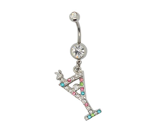 - Charms of America Martini Glass Belly Ring Multi Colored