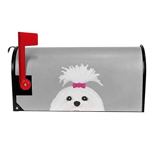 Milyla-ltd Pima Shih tzu Cute White Funny Dog Art Customizable Gift for Dog Person Dog Lovers pet Art Magnetic Mailbox Cover Letter Post Box Cover Wrap Standard Size 21
