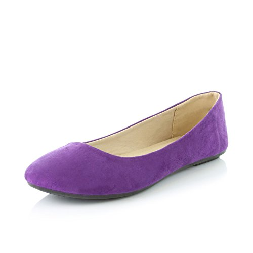 DailyShoes Women's Classic Flat Shoe Ballet Slip On Flats Single Shoes Light Mouth Pregnant Simple Round Toe Slip-on Purple,sv,8.5 -