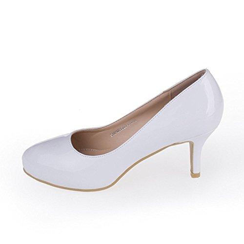 Heels Mid Pump Pu Sexy Shesole Glitter Dress Brevetto Bianco Fawqqp