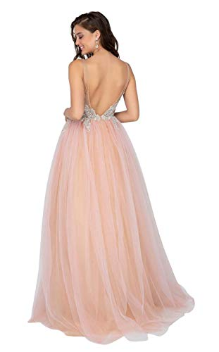 c68cca6b99b Terani Couture - 1911P8527 Embroidered Plunging A-Line Gown at Amazon  Women s Clothing store