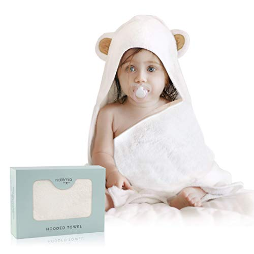 Natemia Extra Soft Rayon from Bamboo Baby Hooded Towel | Super Absorbent and Hypoallergenic | Sized for Infant and Toddler ()