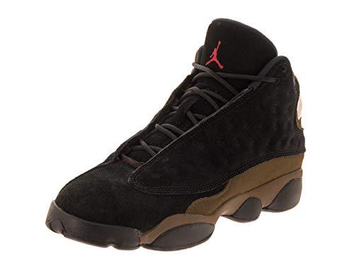 Jordan Nike Kids Air 13 Retro BG Black/True Red/Light Olive Basketball Shoe 5 Kids US