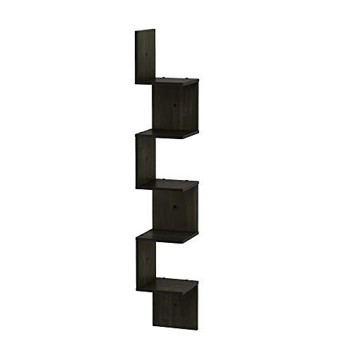 FURINNO 5 Tier Wall Mount Floating Corner Square Shelf, Espresso (Floating Wall Mount Shelves)