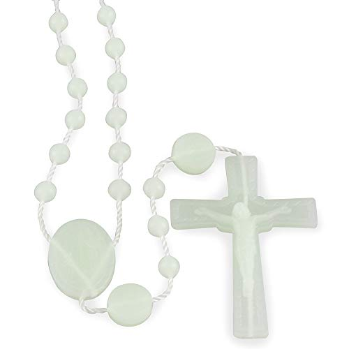 Lady of Lourdes Glow in The Dark Plastic Beads Rosary, 25 Pack