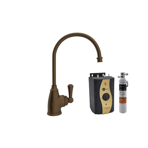 Rohl U.KIT1325L-EB-2 Kit Perrin & Rowe Kitchen Hot Water Dispenser with Single Lever and C Spout Complete with Hot Water Tank and Filter, English Bronze by Rohl
