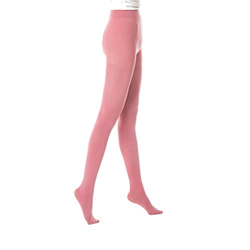 Tights Opaque Pink (Women's Tights 50 Denier Tights Opaque Color Footed Pantyhose With Control Top 1 Pair Great For Workout Cosplay & Daily Use)