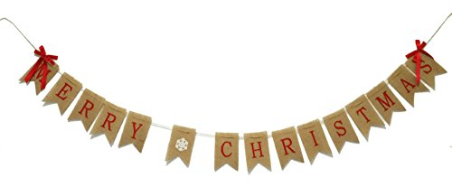 GOER MERRY CHRISTMAS Burlap Banners Garlands with Two Bow Ribbon for Xmas Party Decoration Photo Prop Decor (Merry Banner Photo Christmas)