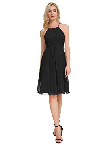 Alicepub Chiffon Bridesmaid Dresses Halter Cocktail Dress Short Homecoming Party Dresses, Black, US12