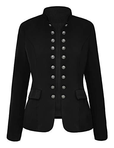 luvamia Women's Open Front Long Sleeves Work Blazer Casual Buttons Jacket Suit