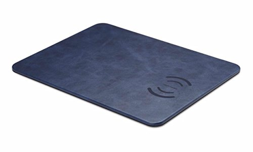 Fast Charging QI Mouse Pad Combo 2 in 1 PU Textured Leather (Blue) by Design By Morelli