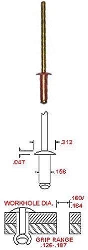 5/32'' Diameter Copper Blind Rivet with Brass Mandrel, Dome Head, Grip Range .126-.187 (Pack of 500) by Hanson Rivet