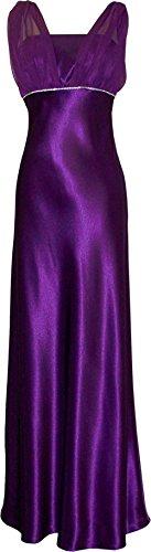 Satin Chiffon Holiday Bridesmaid Long Formal Gown Crystals Junior Plus