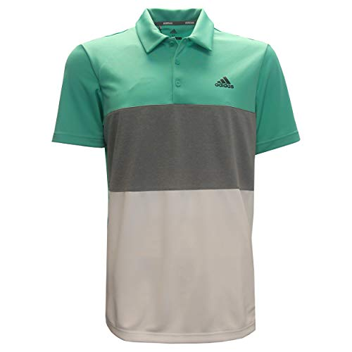 adidas Men's Advantage Wide Colorblock Golf Polo (M, Hi Res Green/Grey Heather)