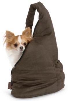 Petego Velvet Messenger Soft Pouch Pet Carrier, Stone/Sage, My Pet Supplies