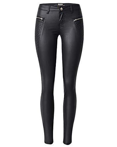 de Pantalones Lápiz PU Negro Cuero Skinny Moto Elásticos Leggings Cintura de Baja Vaqueros Mujer qqfw6R5r
