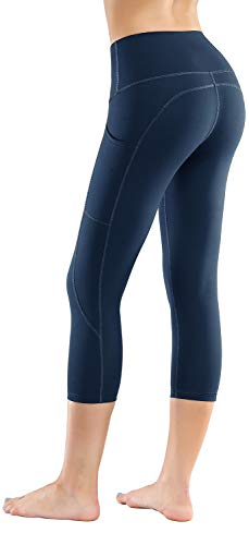 LifeSky High Waist Yoga Pants Workout Capri Leggings for Women with Pockets Tummy Control Soft Pants, M
