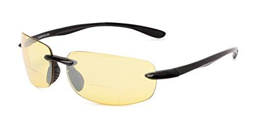 Readers.com The Kobe Bifocal Night Driving Reader +2.50 Black Bifocal for Driving Sport & Wrap-Around Reading - Driving Bifocal Glasses