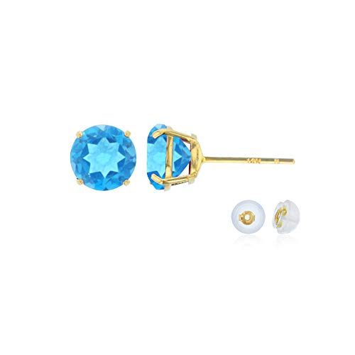 - Genuine 14K Solid Yellow Gold 6mm Round Natural Swiss Blue Topaz December Birthstone Stud Earrings