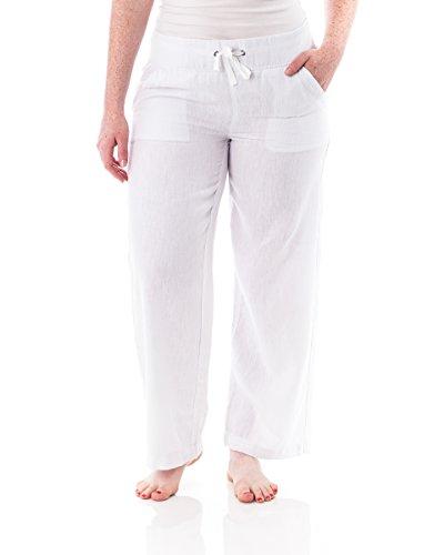 Alki'i Petite Women's Casual Linen Pants with Comfort Waist 1190 White L