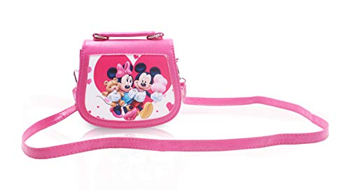 Finex Mickey Mouse and Minnie Mouse Pink Premium PU Leather Small Crossbody Cute Shoulder Handbag Purse Travel Toy Bag for Toddlers Children Kids Preschoolers Baby Little -