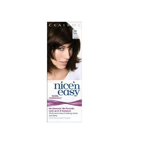 Clairol Nice n Easy Hair Color #79 Dark Brown, UK Loving Care + FREE Luxury Luffa Loofah Bath Sponge On A Rope, Color May Vary by NiceNEz HairColor