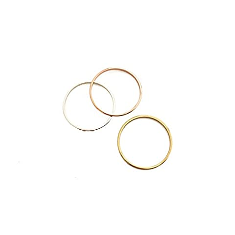 HONEYCAT Skinny Mixed Metal (gold, silver, rose gold) Stacking Rings Trio Set