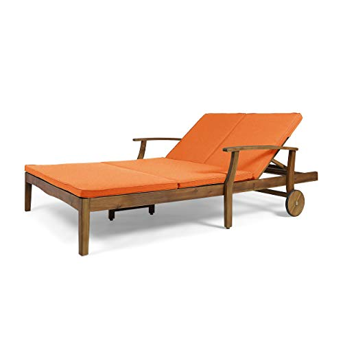 (Great Deal Furniture Samantha Double Chaise Lounge for Yard and Patio, Acacia Wood Frame, Teak Finish with Orange)