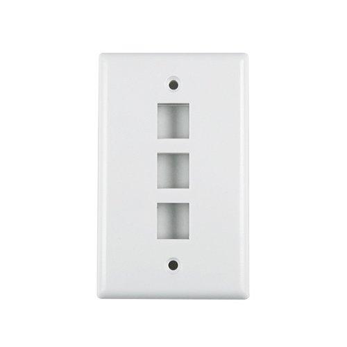 Hellermann Tyton FPTRIPLE-W Standard Single Gang 3 Port Faceplate, ABS 94V-0, White
