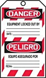 Accuform TMS238FTP DANGER LOCKED OUT DO NOT OPERATE(LOCK OUT TAG)(ENGLISH/SPANISH-MEXICAN) RS-Flexcard 25PK