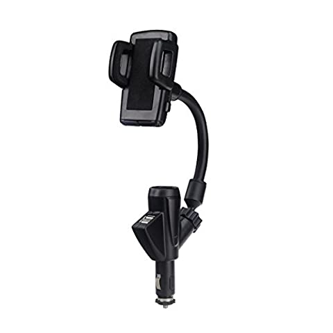 YOXI 3 In 1 Universal Car Mount Holder Cigarette Light Phone Charger with Dual USB Charge and 360° Rotating Gooseneck Holder for (12 V Prius Outlet)