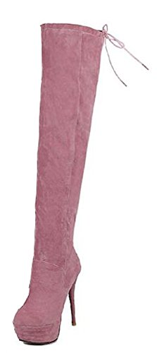Easemax Kvinna Elegant Stilett Solid Rund Tå Dragkedja Tjock Hög Klack Ovanför Knät Stövlar Rosa