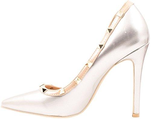 Elara - Pantuflas de caña alta Mujer plata