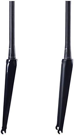 700Cマウンテンバイクフロントフォーク、自転車フロントフォークロードバイクカーボンファイバーフォーク/垂直チューブ300 mm * 28.6 mm/UD布パターン/オープン歯100 mm /フォーク穴径9 mm