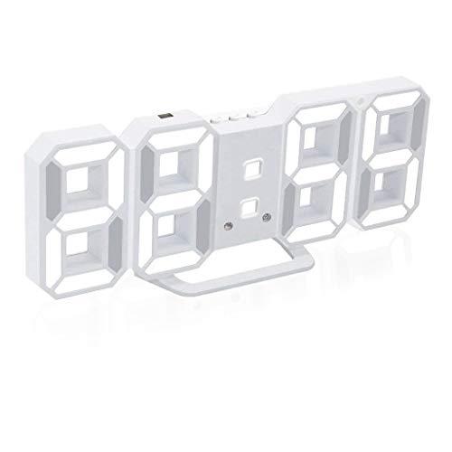 Formemory 전자 시계 자명종 디지탈 LED 고정밀도 자동 점등 기상계 온도계 실내 홈 탁상 전자온 습도계 시계 레이디스 맨즈 캘린더 벽걸이 탁상시계 멋쟁이 귀엽 디지탈 컬러 바리에이션 화이트