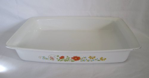 Vintage 197s Corning Ware  inch Wildflower  inch Open Roaster Lasagna Baking Dish 13 1/2 inch X 8 1/2 inch