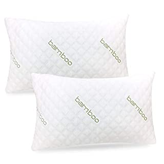 ik Bamboo Pillow (2-Pack) - Premium Pillows for Sleeping - Shredded Memory Foam Pillow with Washable Pillow Cover - Adjustable Loft - (Queen)