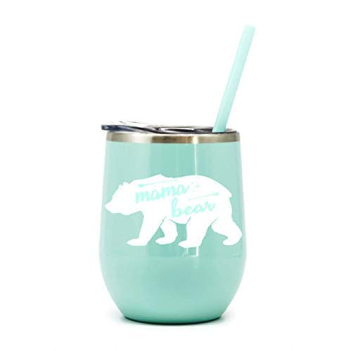 - Mama Bear Mint Green Wine Tumbler Perfect Addition for Mom at Home in the Trailer or in the Outdoors