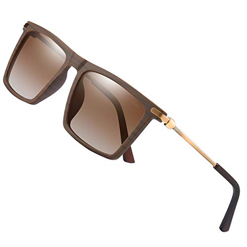 - LEIMI Mens Polarized Sunglasses Vintage Rectangular Driving Fishing Sun Glasses for Men UV Protection 8823 (Brown, 55)