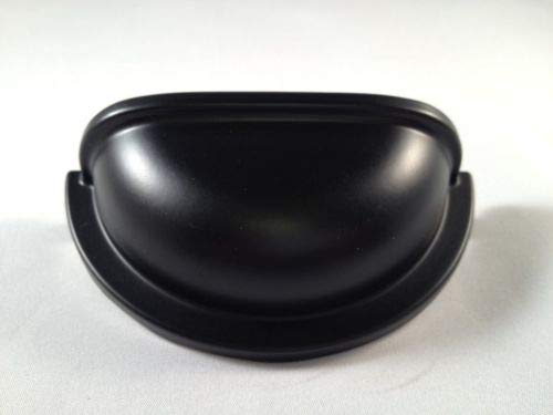 - Cup Pull Kitchen Cabinet Furniture C.C.:3'', Dull Black