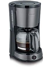 SEVERIN KA 9543 koffiezetapparaat (voor gemalen filterkoffie, 10 kopjes, incl. glazen kan) roestvrij staal/zwart