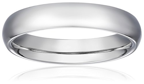Standard Comfort-Fit 14K White Gold Band, 4mm, Size 6.5 by Amazon Collection
